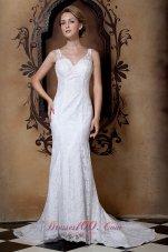 Beading V Neck Lace Court Train Wedding Dresses