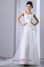 Appliques Chapel Train Square Bridal Wedding Dress