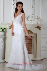 Lace V Neck Appliques Column Court Wedding Dress