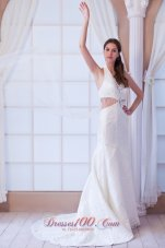 Watteau Train Halter Wedding Dress Beaded