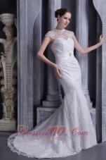 High Neck Mermaid Beaded Brush Bridal Dress