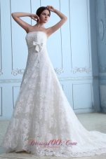 Lace Wedding Dress Strapless Sash Court Train