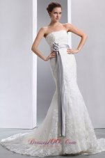 Sash Mermaid Court Lace Wedidng Dress Colored