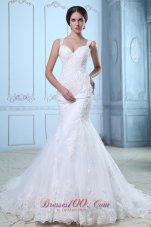 Organza Mermaid Court Train Bridal Wedidng Gown