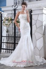 Tulle Sashed Mermaid Wedidng Dress Court Train