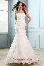 Sweetheart Mermaid Lace Belt Court Wedding Dress