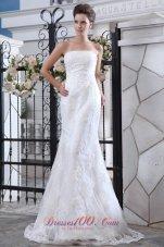 Mermaid Satin Brush Train Lace Wedding Dress