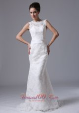 Button Lace Scoop Mermaid Sweep Wedding Dress