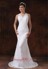 V Neck Mermaid Sweep Wedding Dress Lace For Brides
