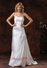 Ivory Halter Ruched Satin Brush Wedding Dress