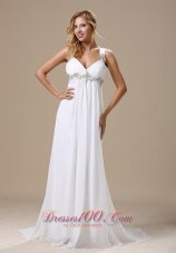 Chiffon Appliques Wedding Bridal Dress With Straps