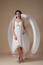 Spaghetti Straps High Low Ruched Bridal Dress Chiffon
