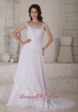 Embroidery Scoop Chiffon Wedding Dress Court Train