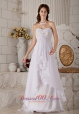 Sweetheart Appliques Chiffon Wedding Dress Brush Train