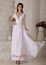 V Neck Beaded Chiffon Brush Beach Wedding Dress
