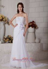 Chiffon Beading Beach Wedding Dress Court Train