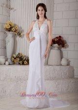 Lace V Neck Mermaid Beaded Wedding Dress Chiffon