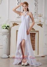 Beading Halter Chiffon High Low Beach Wedding Dress