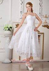 Sweetheart Appliques Short Wedding Dress Lace