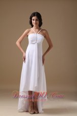 Ruched Halter Chiffon Beading Wedding Dress High Low