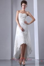 Lace High Low Wedding Dresses For Brides Strapless