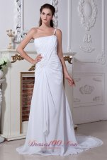 One-shoulder Chic Beaded Ruched Wedding Dress