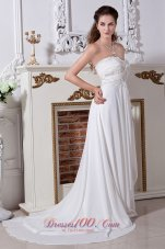Strapless Chiffon Empire Embroidery Beaded Wedding Dress