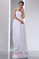 Column Spaghetti Straps Beaded and Ruched Wedding Dress