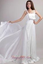 Straps Chiffon Discounted Floor-length Wedding Dress
