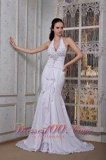 Mermaid Inexpensive Halter Beading Wedding Dress