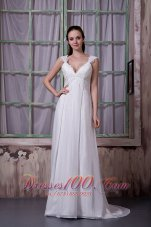 Vintage Empire Wedding Dress Chiffon Appliques