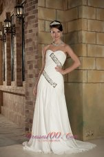 Column Sweetheart Ruched Train Wedding Gowns
