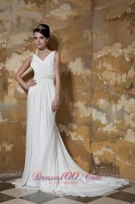 Column Affordable Court Train Beaded Wedding Dress