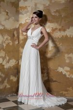 Ruched V-neck Brush Train Organza Beaded Wedding Dress