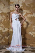 Column New Ruched Wedding Dress Chiffon Beaded