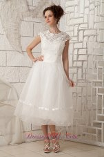 Chic A-line Scoop Beaded Wedding Dress Organza Lace