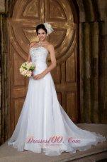 Clearance Strapless Wedding Dress Short Organza