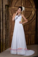 Vintage Empire One Shoulder Wedding Gowns Chiffon