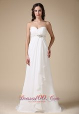 Sweetheart Brush Train Chiffon Beading Bridal Dress