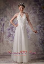 Chic Column Halter High-class Beading Wedding Dress