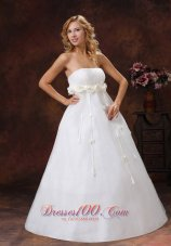 Floral Strapless Tulle Satin A-line Wedding Dress