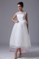 Bateau Organza Zipper-up Beach Wedding Dress