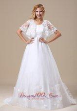 Custom Wedding Dress Short Sleeves Brush Train