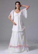 Sassy Scoop Short Sleeves Wedding Dress Ruches