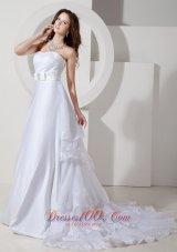 Vintage A-line Princess Wedding Dress Satin Organza