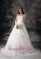 A-line Strapless Bridal Dress Taffeta Lace Court Train