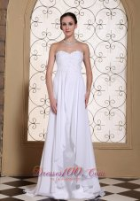 Lace White Chiffon Wedding Dress Brush Train Lace-up