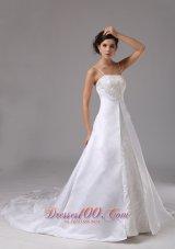 Spaghetti Straps Wedding Dress Lace Satin Court Train