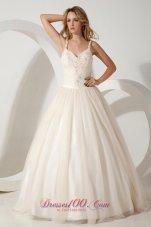 Impressive Straps Brush Train Appliques Wedding Dress