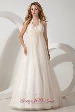 Discounted Halter Brush Train Beaded Wedding Dress